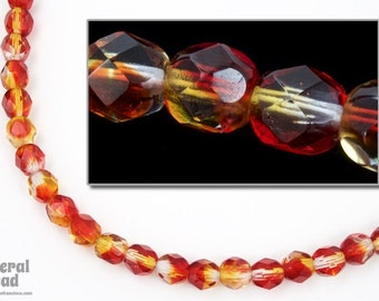 6mm Red/Topaz Two Tone Fire Polished Bead (25 Pcs)  #FPX199