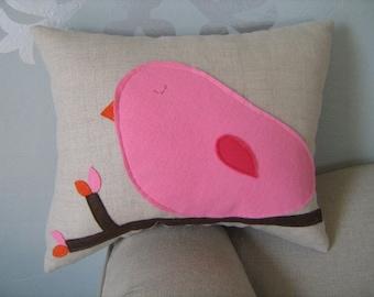 Cotton Candy Pink Bird Pillow on Oatmeal/Natural Linen