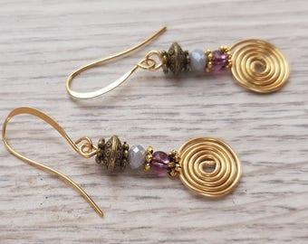 Chakra Earrings, Spiral Golden Earrings, Geometric Earrings, Meditation Earrings, Shanti Gift, Shanti Earrings, Spiritual Earrings, purple