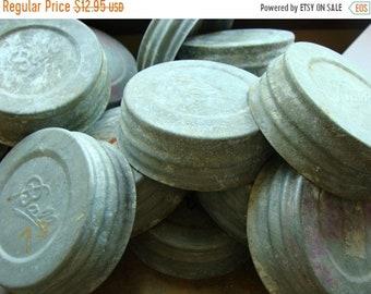 ONSALE 3 Vintage  Antique Mason Jar Lids Aged Zinc Ball Canning Jar Lids