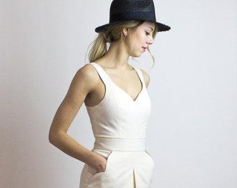Hamptons Linen dress, Sophisticated cream dress - Minimalist Ethical fashion