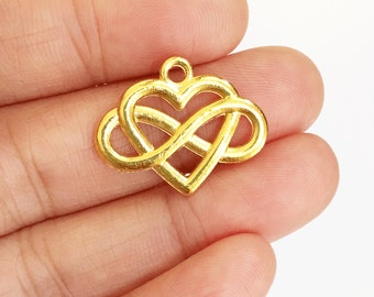 Bulk 30 pcs of gold plated heart charm 20x25mm, gold heart pendant, gold infinity heart pendant