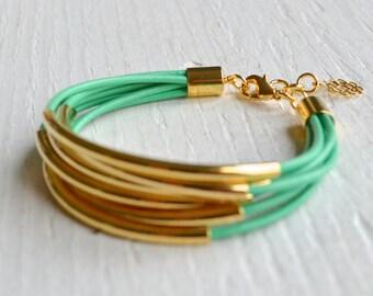 Mint Leather Cuff Bracelet with Gold Tube Beads - Minamalist Design Multi Strand Bangle Women's Bracelet ... by  B A L O O S
