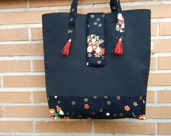 Canvas tote bag,black tote,flower tote,tassel tote bag,oirnetal print,oriental bag,oriental print fabric,floral totes,flowers tote bag