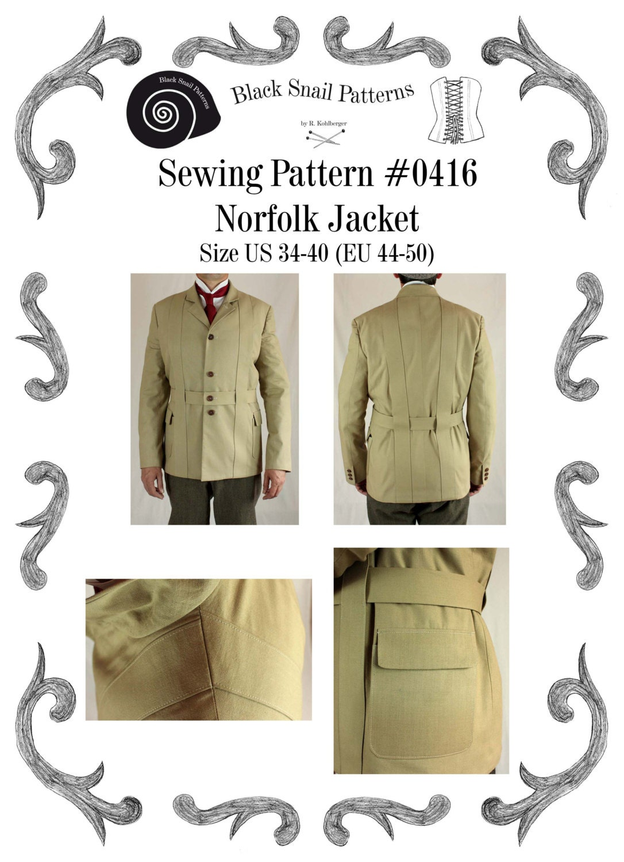 Mens Norfolk Jacket Sewing Pattern 0416 Size US 34-48 EU