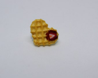 Nutella and Strawberry Heart Waffle Pin