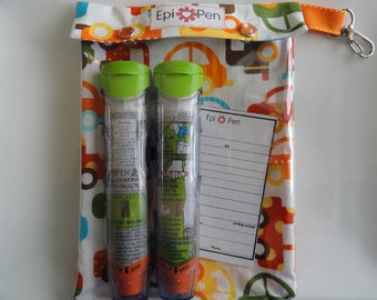 XL Epi Pen Case w/ See Through Front and Swivel Clip Holds 2 Allergy Pens Medications First Aid ID Card (6x8 Cars Fabric) Free Gift Included