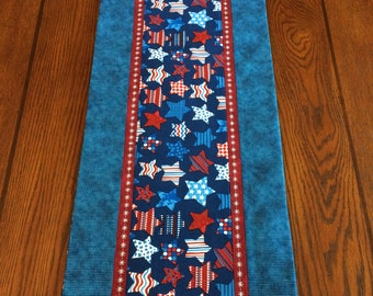 4th of July Celebration Table Runner, Stars and Stripes, Red, White and Blue Gift Idea, Housewarming, Wedding Gift