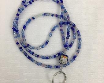 Beaded Lanyard, Beaded Badge Holder, Blue Owl, Blue, Multi-colored, Nurse, Teacher, Badge Necklace