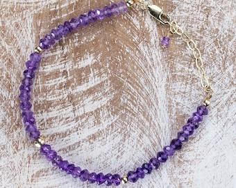 Amethyst Gemstone Bracelet/stacking bracelet/Amethyst Bracelet/February birthstone