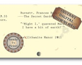 Bit of Earth Printable Vintage Card Catalog Quote ~ 3X5 The Secret Garden Frances Hodgson Burnett Blank Note Card ~ Gift Tag ~ Digital File