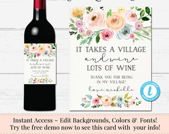 Custom Wine Label, Editable Wine Label, It Takes a Village Wine Label, DIY Wine Label, Instant Bottle Label,  Download Sticker, Templett
