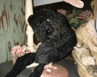 Antique Victorian Black Mourning Bonnet Hat Jet Glass Beaded