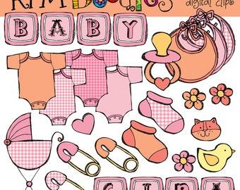 KPM Baby Girl digital clipart clip art COMBO
