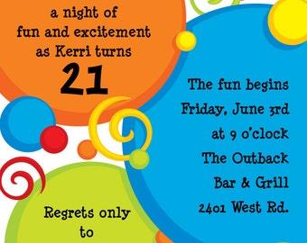 Circles and Swirls Celebration Invitation, Birthday Party,Birthday Bash Invitation,Birthday Announcement, Original Digital Invitation, IV750