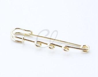 10pcs Gold Tone Kilt Pins with 3 Loops - Brooch Pins - Safety Pins - 55mm