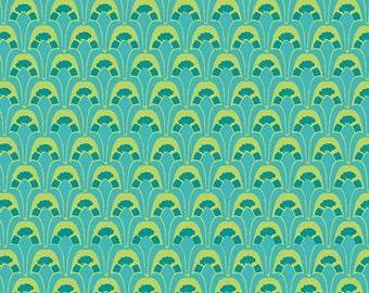 Picadilly Circle Teal Blue Scallops Fabric 1 Yard