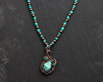 copper wire weaved turqoise pendant
