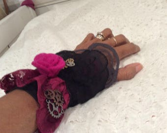 Black steampunk and Pink Lace  wristcuff