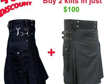 Buy 2 utiltiy kilts in just 100 USD, mens kilts deal, mens utility kilts discount, etsy deals for mens, black utility kilts, utility kilts