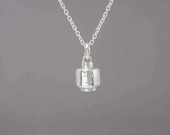 Sterling silver lego head necklace - 3D Sterling silver lego head pendant - Sterling silver lego head charm - 3D Lego head - Lego pendant