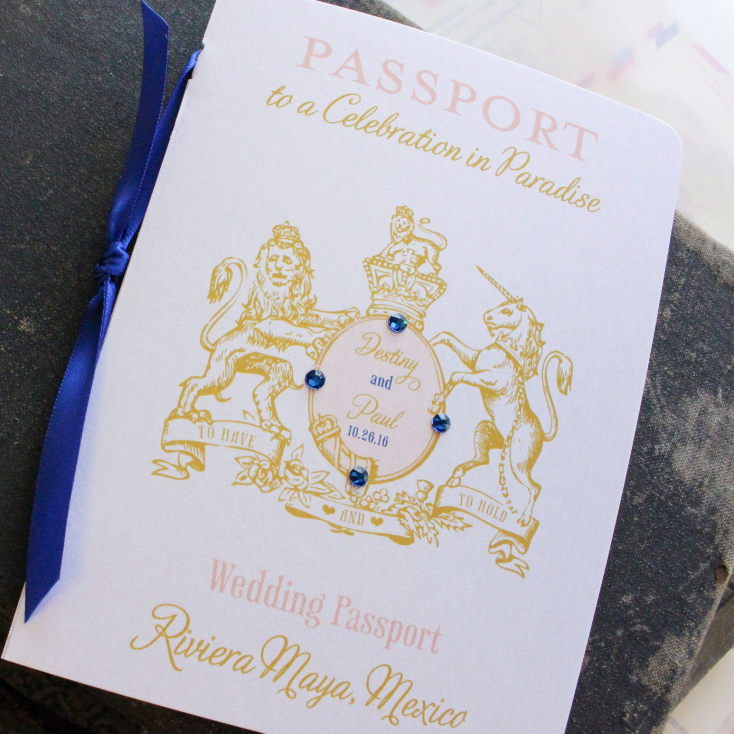 Wedding Crest Passport Wedding Invitation Riviera Maya