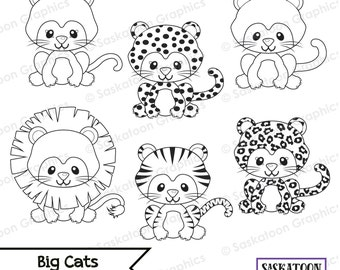 Big Wild Cats Digital Stamps Clipart - Instant Download File - Digital Graphics - Crafts, Web Design - Commercial & Personal Use - #A025