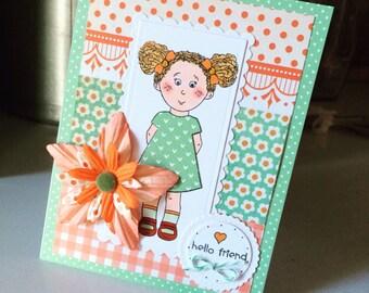 Little Girl Hello Friend Card