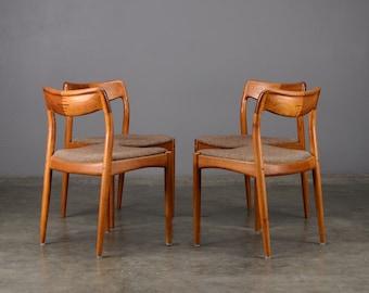 4 Mid Century Dining Chairs Uldum Teak Danish Modern