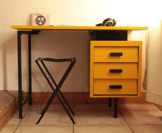 Bureau vintage bois et métal fenji