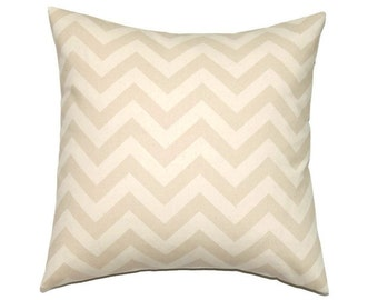 Taupe Pillow Cover, Khaki 12x12 Pillow Cover, Tan Chevron Decorative Pillows, Sofa Cushion, Modern neutral decor, Zig Zag Khaki Natural
