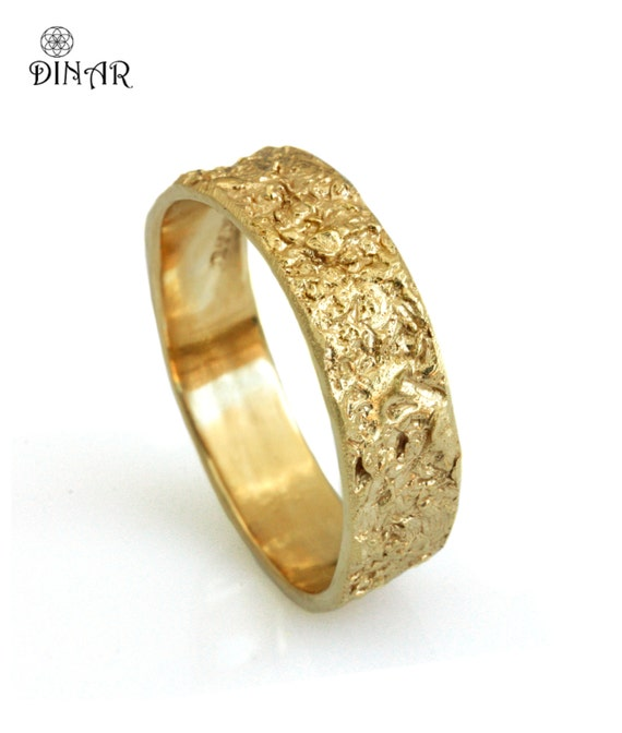 14k Solid Gold Wedding Band Rustic 18k Yellow Gold Ring 6mm