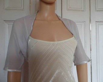 SILVER GREY chiffon ELBOW length sleeve bolero/shrug/jacket  with satin edging