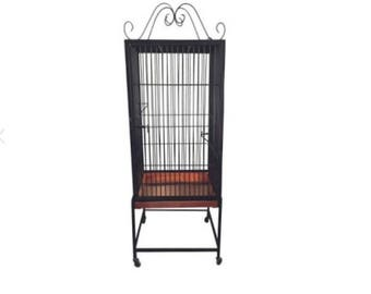 Black Wrought Iron Standing Birdcage Vintage