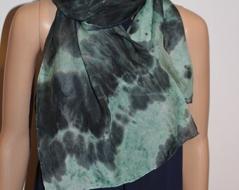 57-13 in Hand dyed green gray silk chiffon scarf, for him, for her, ready to ship