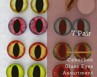 7  PAIR Cabochon Glass Cat Dragon Eyes 10mm or 12mm or 14mm for Sculpture Carving Crafts Jewelry Design Dragon Frog Fantasy Art CAB-Series D