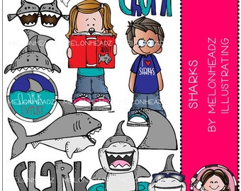 Sharks clip art - COMBO PACK