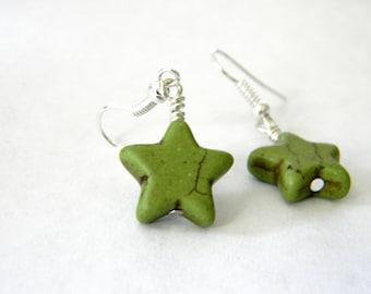 Green Star Dangle Earrings Stone Earrings 15mm Star
