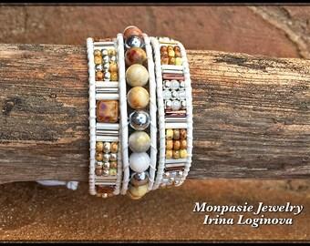 Crazy Lace Agate and Hematite 3x Wrap Leather Bracelet - Casual Leather Wrap Bracelet - Boho Beaded Wrap Bracelet