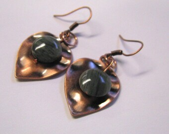 Antique Copper Hammered Leaf Dangle Earrings With Striped Green Jade, Copper Earrings
