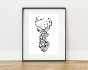 Inspirational words {Stag head} - Digital Print