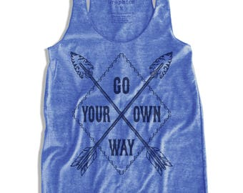 Go your own way Graphic Print  Women's Racerback Tank Top