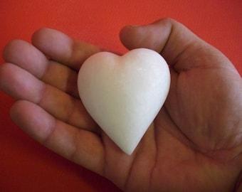 Hand Carved Snow White Marble Heart 7 cm, Modern Sculpture Art, Unique Art Gift for Eternity Love