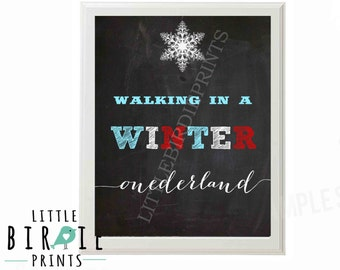 WINTER ONEDERLAND Chalkboard Birthday Party Sign Walking in a winter ONEDERLAND with Snowman and snowflakes Boy Instant Download