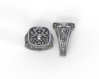 Crest ring with heraldic dragons, personalized with your name/emblem - Sterling silver, Palladium, Gold, Platinum