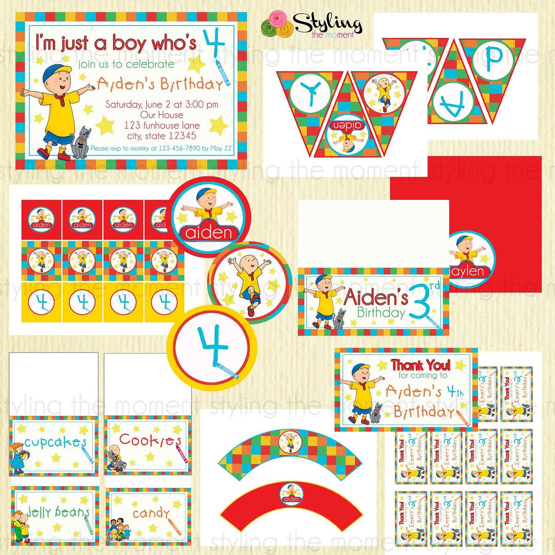 Caillou Birthday Printable Set