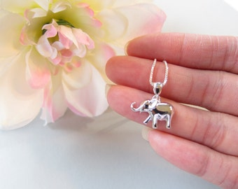 All Sterling Silver Elephant Necklace, Baby Elephant Necklace, Good Luck Jewelry, Good Luck Gift, Animal Necklace, Children Necklace, cute