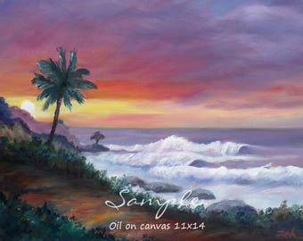 Small Custom sunset canvas oil painting from photo, Nature commission, Original landscape or beach wall art by Janet Zeh