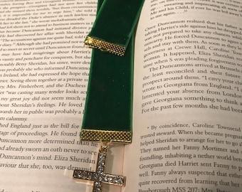 Emerald Green Velvet ribbon bookmark with crystal cross