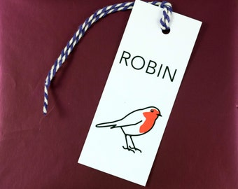 Pack of 5 ROBIN Gift Tags